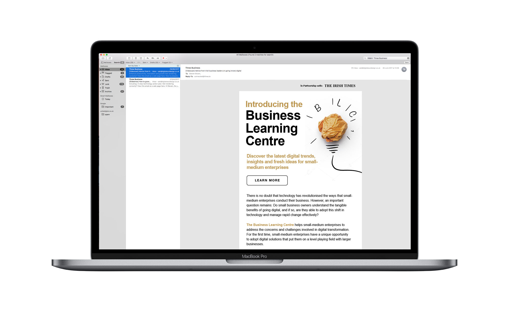Business Email from Three mac comp
